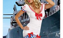 Brand New 2pc Pin-up Sailor Costume Includes -
