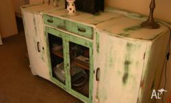 country shabby sideboard in green and white. always