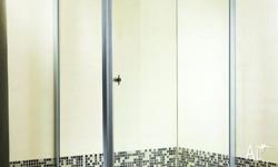 shower enclosure includes base and glass. dimensions