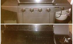Hardly used, good condition. Silver BBQ with gas can!