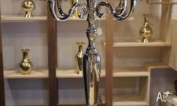 SILVER POLISHED FIVE ARM ALUMINIUM CANDELABRA FOR ONLY