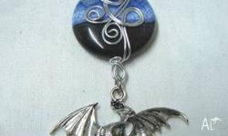 (2098 ) detailed Silver tone Winged Dragon pendant with