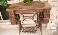 old antique singer sewing machine cabinet with drawers