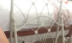 Girls single bed frame with flowers on it, white. Great