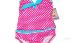 Pink swimmers with white dots and acqua trim. Brand new