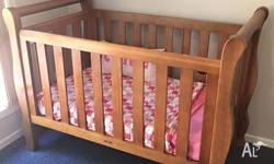 Baby sleigh cot and matching change table. EUC, a