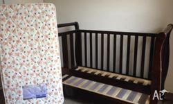Used Chocolate coloured Sleigh Cot with Love�n�Care