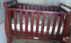 Sleigh style solid wooden cot. specifications: 1.