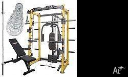 Smith Machine bench Combination plus Bar and Weights.
