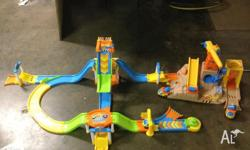 Car set with ramp and construction set. Cars, trucks,