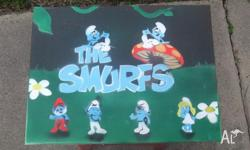 airbrushed smurfs picture good eddition to kids room