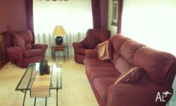 Three seater sofa AND two single recliner chairs.