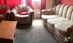 For sale sofa set with one three seat sofa and two