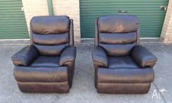 Soft brown italian leather fully reclining lounge suite