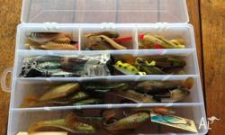 tackle box full of soft plastic lures. squidgies,