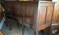 Solid Cedar Antique Sideboard with Bow Front Drawers in