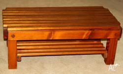 Solid Timber Slat Coffee Table Measures 95Lx36Hx52Dcm
