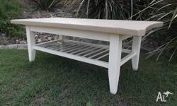 Coffee Table, it is solid wood, white painted base with