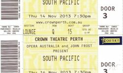 2 TICKETS TO SOUTH PACIFIC ON 14 NOVEMBER LOUNGE ROW Q