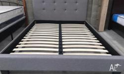 Special!!! Fabric Bed Frame in Grey/White Queen:$250