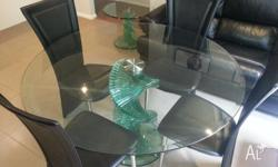 Spiral Glass Dining Table 4 Black leather look chairs