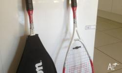2 squash racquets used 2-3 times only. Wilson make.