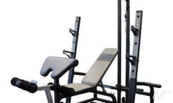 Full squat rack and Adjustable weight Bench* Lat