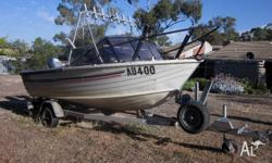 Stacer 414 Runabout with Numa Tilt Trailer. Powered by