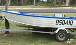 Stacer aluminium dinghy and trailer, 3.4 metres,