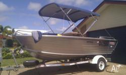 4.5m stacer nomad, full bimini cover, all saftey gear,