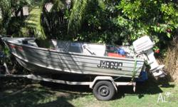 3.9m STACER TINNIE 30HP JOHNSON OUTBOARD RUNS WELL