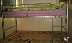 Good condition, steel bunk bed, sleeps one (1). Comes