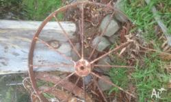 2 pairs large steel antique farm machine wheels price