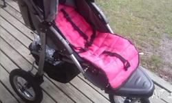 Steelcraft 3 wheel pram with rain cover and pink liner
