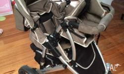 Steelcraft take 2 4 wheel pram with additional toddler