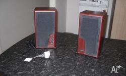 Stereo speakers for sale. Cables provided. Easy to