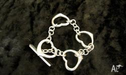 Sterling Silver(925) 4 Heart Bracelet Approx 16cm long