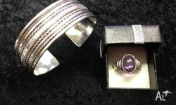 Sterling Silver bracelet & ring with amethyst, bracelet