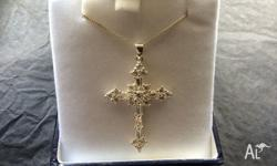 Sterling Silver Large Fancy Cubic Zirconia Cross