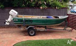 For sale is a 3.8 metre aluminium tinnie. 25 hp Johnson