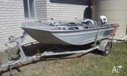 3.8m Stessyl Tinny with 15hp Johnson outboard, motor
