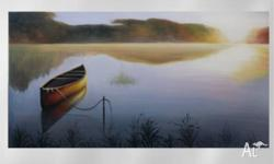 Still Lake - Serene painting of a boat in a vast lake.
