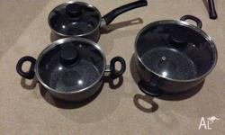 3 STONE DINE POTS NOT STICK FOR SALE NOT NEEDED SO GRAB
