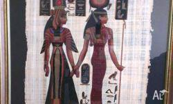 Egyptian painted papyrus. A gorgeous peice - impressive