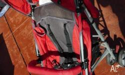 Red, Black and Silver Stroller. High Handles, great if