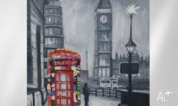 Stunning London Themed hand painted artwork. 75x100cm.