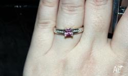 Gorgeous stirling silver pink and clear CZ ring Size 8