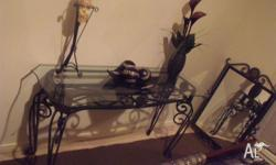 Wrought Iron Glass Top Hall Table with Matching Wrought