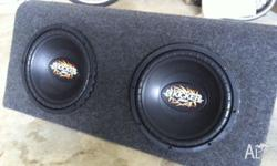 2 x 12 inch subs in custom box perfect condition !!