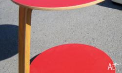 TABLE LITTLE ROUND RED Shiny red handy little table on